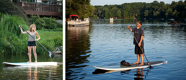 Surf Reston paddleboarding SUP on Lake Anne in Reston, Virginia
