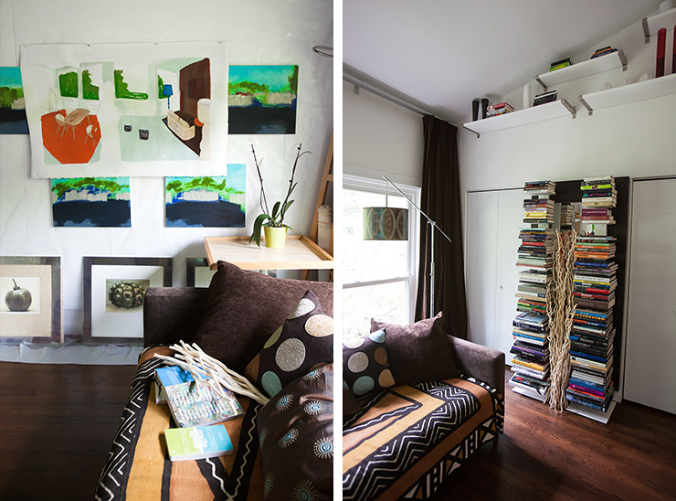 Art studio with vertical bookshelves