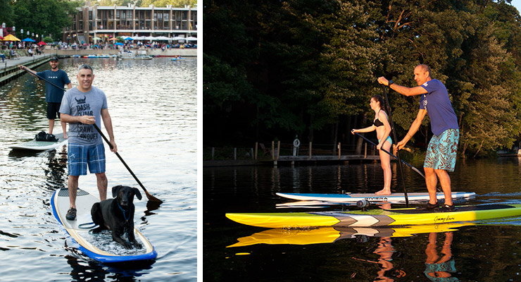 Surf Reston paddleboarding SUP on Lake Anne