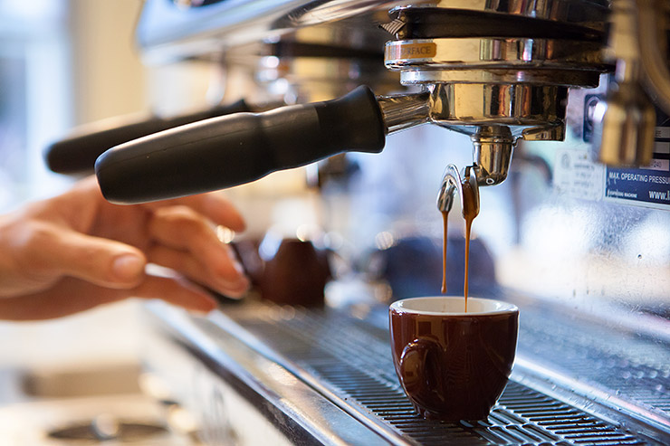 Espresso brewing at Pitango Gelato in Reston