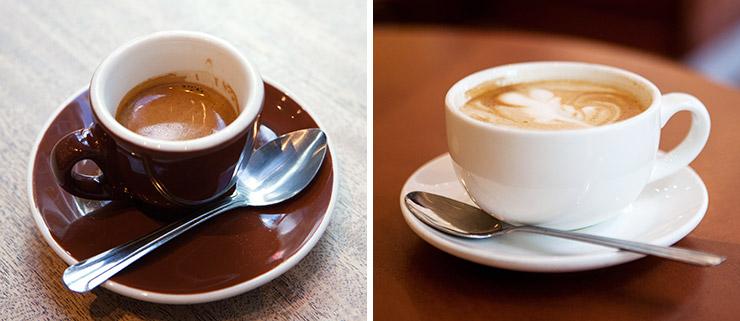Espresso and latte at Pitango Gelato in Reston