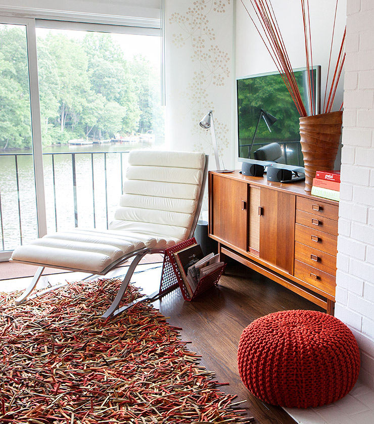 Mid-century sideboard with a vintage lounge chair