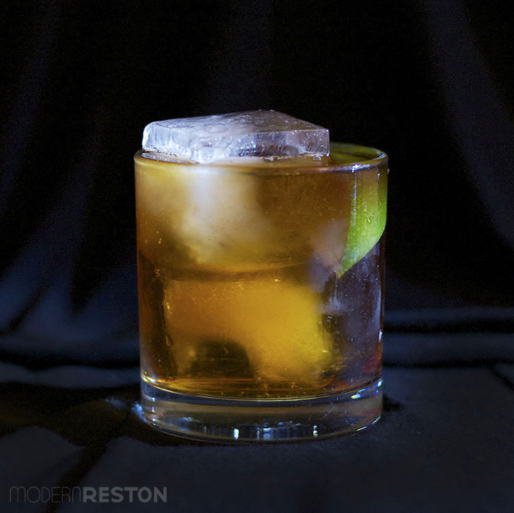Halloween drinks - Dark and Stormy cocktail with rum and ginger beer