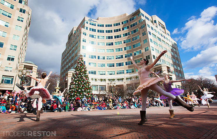 Ballet dancers in the Reston Holiday Parade at Reston Town Center in Virginia
