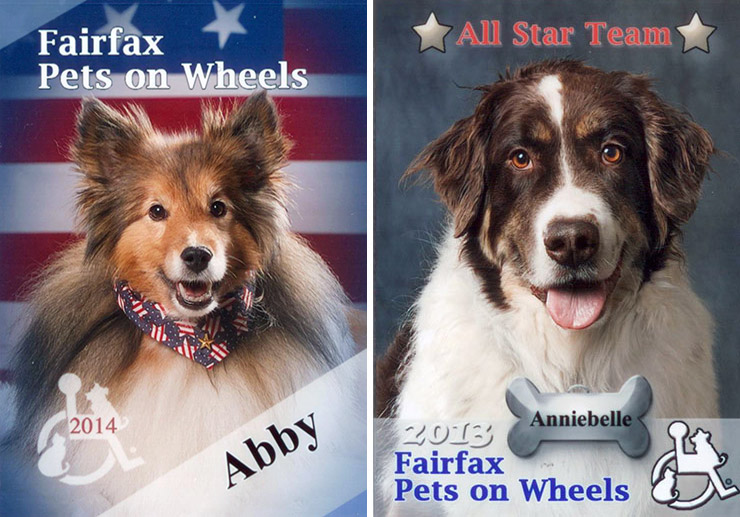 Abby and Anniebelle's Fairfax Pets on Wheels collector cards. Photo credit: Robin Burkett of Paw Prints Photography.