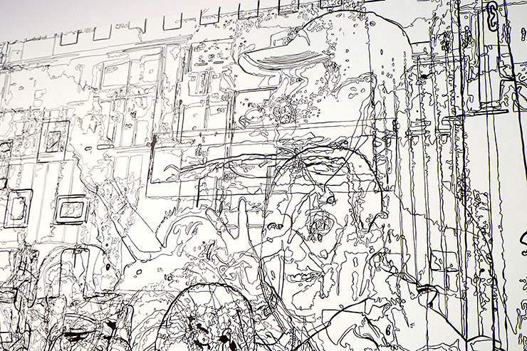 Greater Reston Arts Center (GRACE) LineWorks exhibit: line drawing by Lee Gainer
