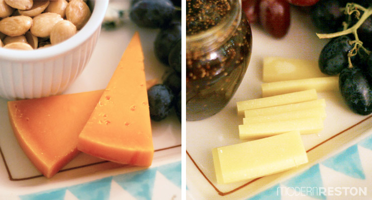 Cheese platter with mimolette and jasper hill cheese