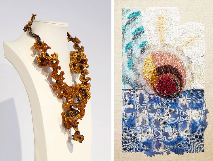 Artwork by Ingrid Bernhardt and Karin Birch at the BEAD exhibit at GRACE in Reston, Virginia