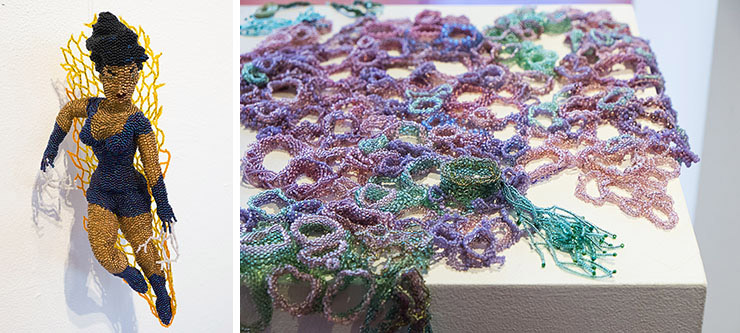 Artwork by Teresa Sullivan and Gail Gorlizt at the BEAD exhibit at GRACE in Reston, VA
