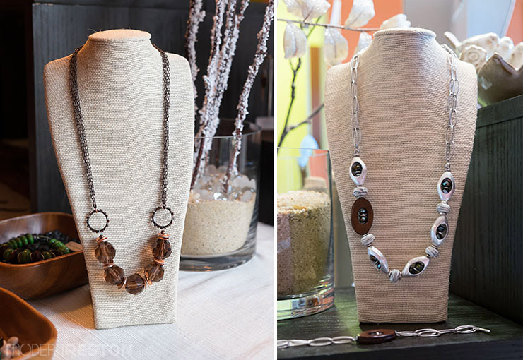 Handmade necklaces by Modern Nature Studio in Reston, VA