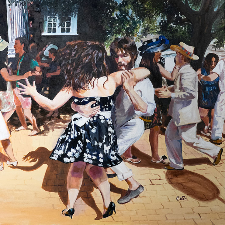 Dancing-in-the-Square-Reston-Town-Center-painting-by-Carol-Weldon-Zinsmeister