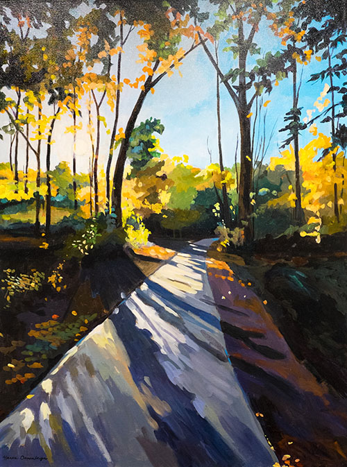 Walking-in-Reston-painting-by-Karen-Danenberger