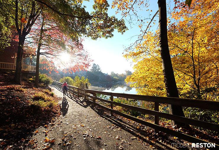 Reston Virginia bike path Lake Newport