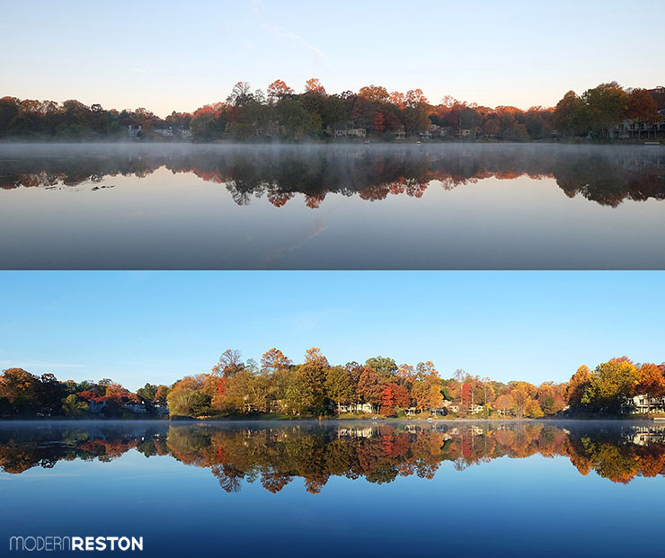 Reston Virginia fall foliage Lake Newport sunrise