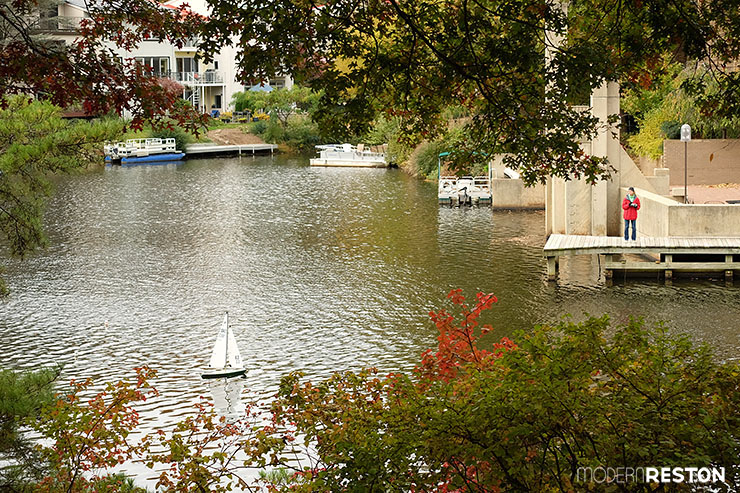 Reston Virginia fall Lake Anne sailboat