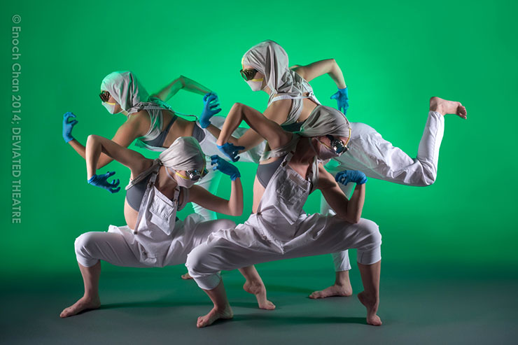 "DEVIATED THEATRE dancers in their original dance opera, ""creature."" Photo by Enoch Chan."