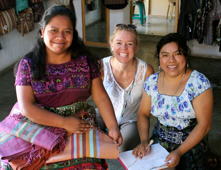 Amanda with artisans Herminia and Maria in Guatemala