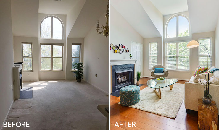 Reston-condo-staging-1-living-room-before-after