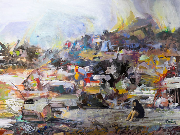 """Aftermath - Tsunami"" by Pam Coulter - League of Reston Artists"