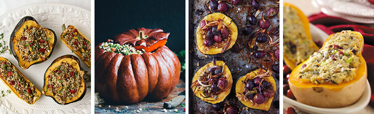 Stuffed squash vegetarian Thanksgiving main dishes